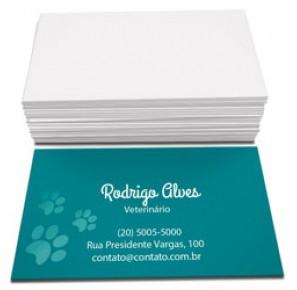 500 Cartões de visita, 4x0, 300g,  Verniz Localizado F