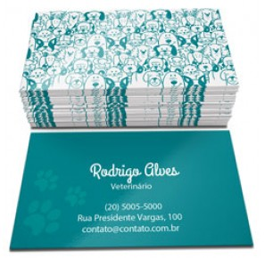 500 Cartões de visita, 4x4, Verniz Local F, Verso Fosco